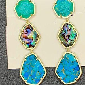 Nina Clip On Gold Linear Earrings in Blue Mix